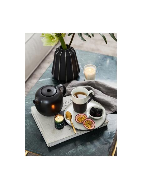 Handgemaakte mokken Esrum mat/glanzend, 4 stuks, Bovenzijde: glad geglazuurd keramiek, Onderzijde: natuurlijk keramiek, Ivoorkleurig, grijsbruin, 250 ml