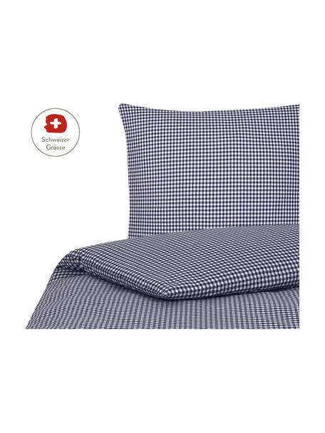 Baumwoll-Bettdeckenbezug Scotty, kariert, Baumwolle, Blau/Weiss, 160 x 210 cm