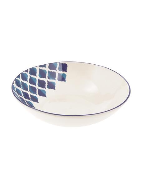 Handgemachte Salatschüssel Ikat, Ø 26 cm, Keramik, Weiß, Blau, Ø 26 x H 8 cm