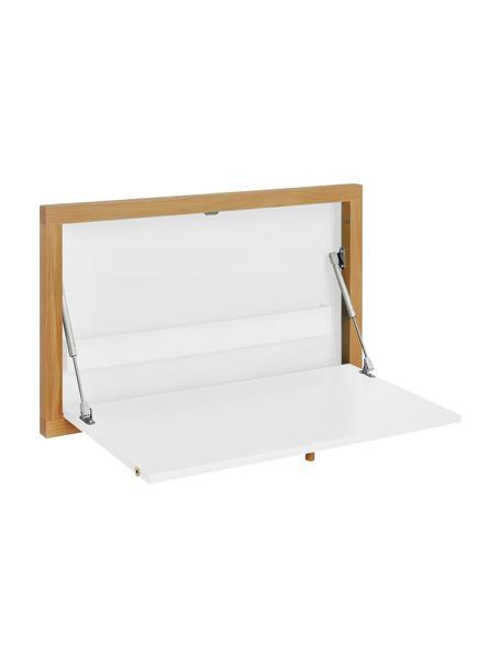 Wandbureau Brenta, uitklapbaar, Frame: gelakt MDF, Wit, lichtbruin, 74 x 44 cm