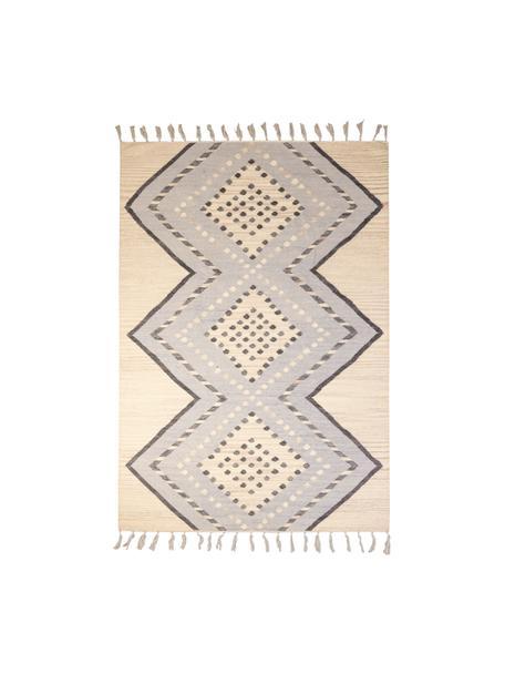 Wollen vloerkleed Jazmin met franjes en patroon, 80% wol, 20% katoen, Beige, grijsblauw, donkergrijs, B 120 x L 170 cm (maat S)