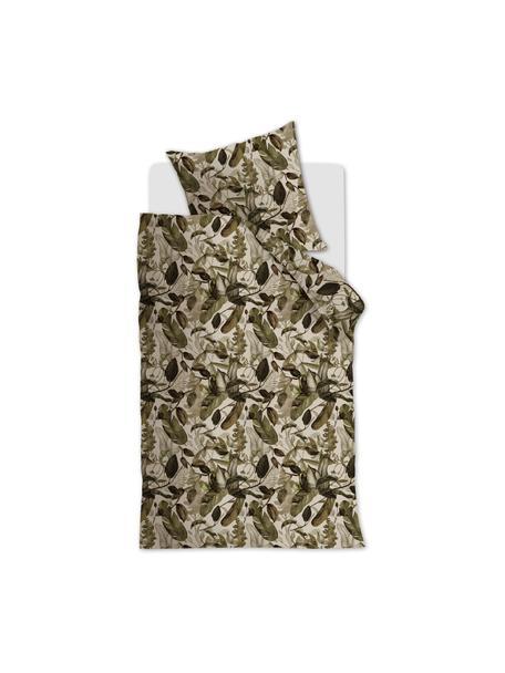Baumwoll-Bettwäsche All Leaves mit Blattmotiv, Grün, Beige, 135 x 200 cm + 1 Kissen 80 x 80 cm