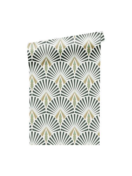 Tapeta Luxus Geometric Art, Włóknina, Biały, zielony, ciemny zielony, odcienie złotego, S 52 x W 1005 cm