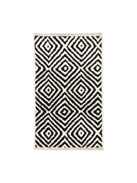 Kelim vloerkleed Mozaik in zwart/wit, 90% katoen, 10% polyester, Zwart, B 60 x L 90 cm (maat XXS)