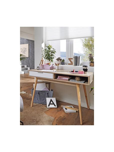 Scrivania effetto quercia con cassetto Samo, Piano d'appoggio: truciolato, sventato, Gambe: legno di quercia, Legno di quercia, bianco, Larg. 120 x Alt. 79 cm