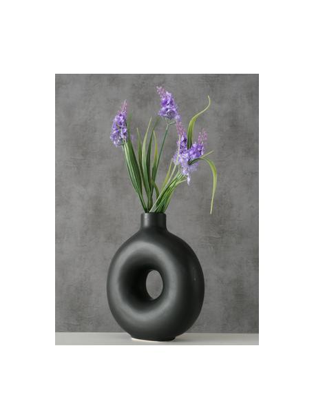 Handgefertigte Steingut-Vase Lanyo, Steingut, Schwarz, 17 x 20 cm