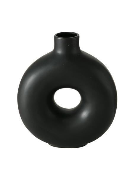 Jarrón artesanal Lanyo, Gres, Negro, An 17 x Al 20 cm