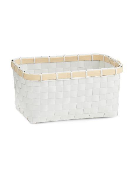 Cesta Bari, Cesta: plástico, Estructura: bambú, Blanco, beige, An 24 x Al 12 cm