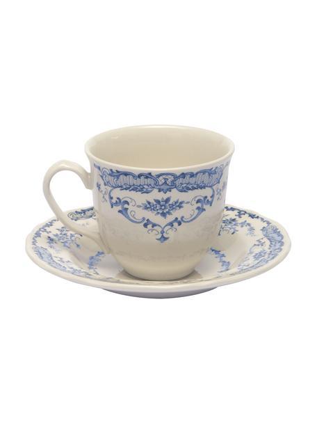 Teetassen mit Untertassen Rose mit Blumenmuster in Weiss/Blau, 2 Stück , Keramik, Weiss, Blau, Ø 9 x H 8 cm