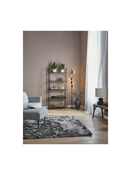 Libreria in legno e metallo Seaford, Ripiani: Pannelli di fibra a media, Struttura: metallo, verniciato a pol, Nero, Larg. 77 x Alt. 175 cm