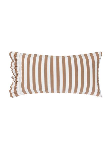Gestreifte Kissenbezüge Averni aus gewaschener Baumwolle mit Rüschen, 2 Stück, Webart: Perkal Fadendichte 200 TC, Blau, Weiß, 40 x 80 cm