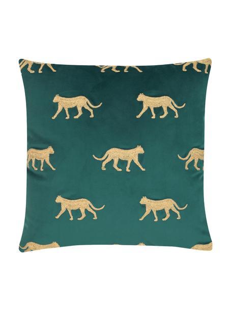 Federa arredo in velluto ricamata Cheetah, Velluto di poliestere, Verde scuro, dorato, Larg. 40 x Lung. 40 cm
