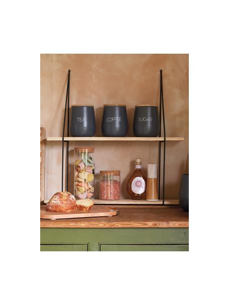 Aufbewahrungsdose Serenity Coffee, Ø 13 x H 15 cm, Dose: Stahl, beschichtet, Deckel: Mangoholz, Anthrazit, Holz, Ø 13 x H 15 cm
