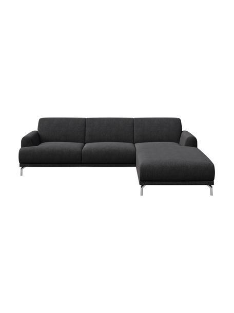 Sofa narożna Puzo, Tapicerka: 100% poliester, Nogi: metal lakierowany, Ciemnyszary, S 240 x G 165 cm