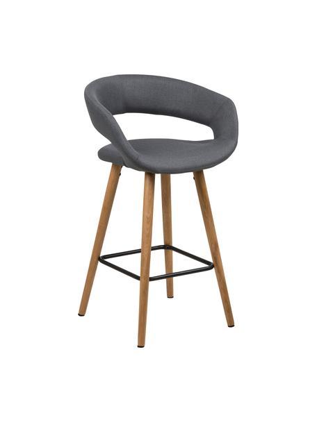 Barstoelen Grace in grijs, 2 stuks, Bekleding: polyester, Poten: geolied eikenhout, Bekleding: donkergrijs. Poten: eikenhoutkleurig. Voetsteun: zwart, 56 x 87 cm
