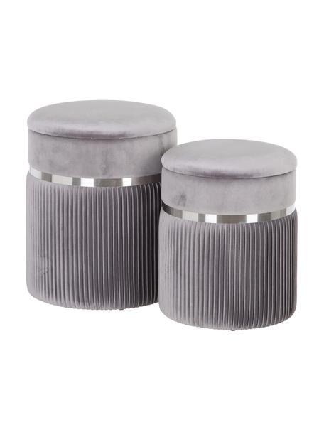 Taburetes de terciopelo Chest, 2pzas., con espacio de almacenamiento, Tapizado: poliéster (terciopelo), Gris, plateado, Set de diferentes tamaños