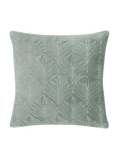 Gewatteerde fluwelen kussenhoes Celine met fijn patroon, Saliegroen, 40 x 40 cm