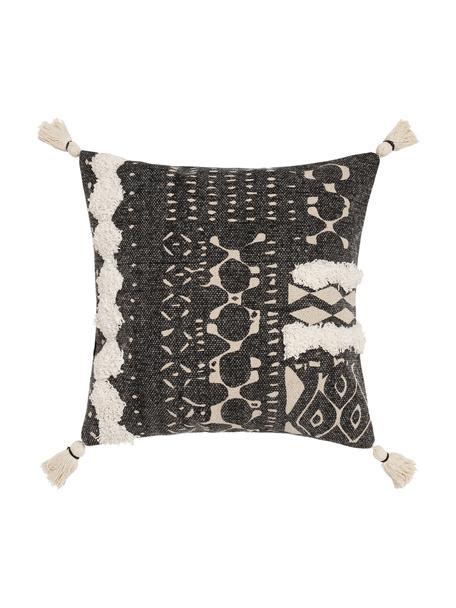 Federa arredo boho con motivo a rilievo e nappe Boa, 100% cotone, Nero, bianco, Larg. 45 x Lung. 45 cm
