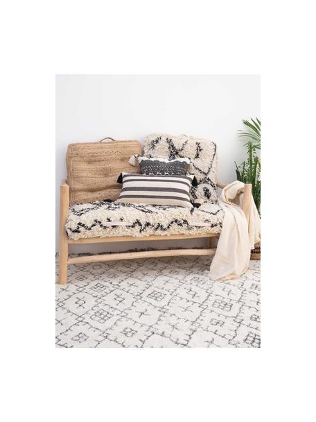 Boho-Kissenhülle Boa mit Hoch-Tief-Muster und Quasten, 100% Baumwolle, Schwarz, Weiß, 45 x 45 cm