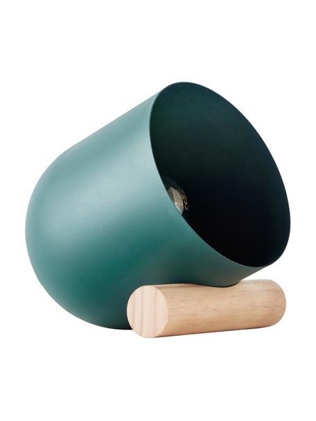 Lampada da tavolo con decoro in legno Leonia, Paralume: metallo rivestito, Base della lampada: legno, Turchese, Larg. 16 x Alt. 21 cm
