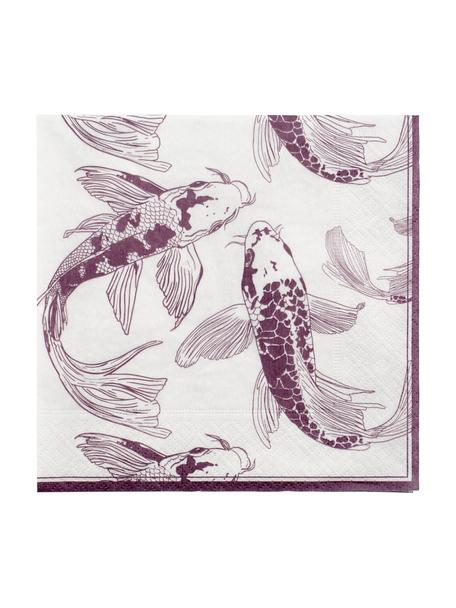 Papier-Servietten Kuniko, 20 Stück, Papier, Weiß, Lila, 33 x 33 cm