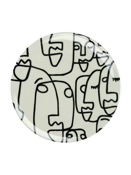 Piatto piano con disegno Modiglia 2 pz, Gres, Bianco crema, nero, Ø 28 cm