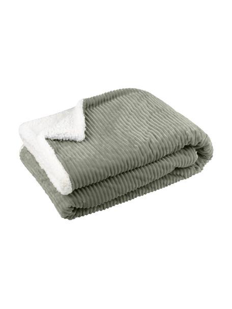 Manta de peluche Ernest, 100%poliéster, Caqui, blanco, An 130 x L 150 cm