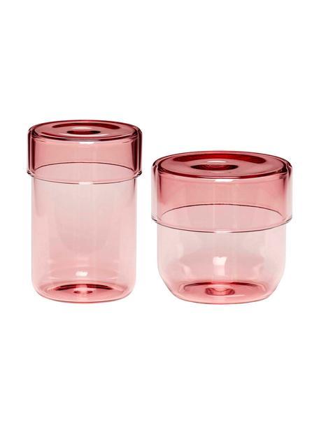 Set 2 contenitori in vetro Transisto, Vetro, Rosa, Set contenitori S