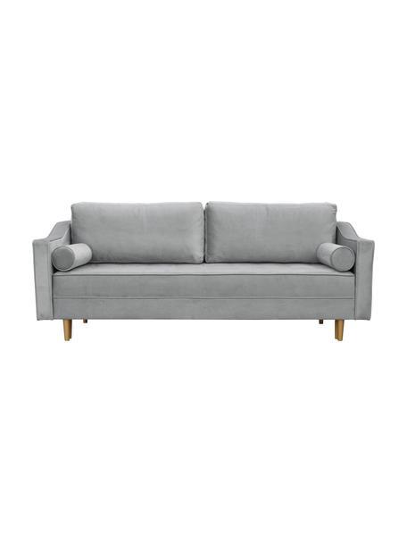 Sofa  z aksamitu z funkcją spania Zoja (2-osobowa), Tapicerka: 100% aksamit poliestrowy, Nogi: drewno lakierowane, Szary, S 221 x G 99 cm