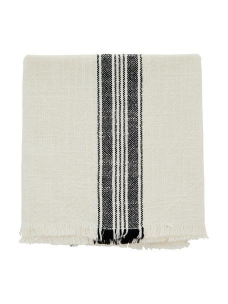 Gestreifte Baumwoll-Geschirrtücher Ripo, 2 Stück, 100% Baumwolle, Gebrochenes Weiß, Schwarz, 50 x 70 cm