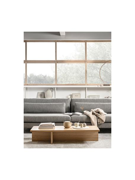 Moderner Couchtisch Angle mit Eichenholzfurnier, Mitteldichte Holzfaserplatte (MDF) mit Eichenholzfurnier, Hellbraun, 135 x 27 cm