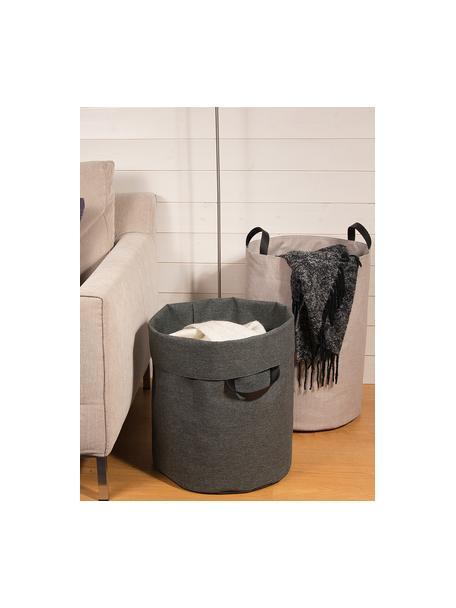 Portabiancheria Floor, Manico: pelle, Cesto : beige manico: nero, Ø 40 x Alt. 55 cm