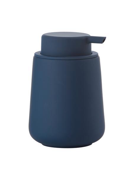 Zeepdispenser Push, Houder: porselein, Pompje: kunststof, Royal blue, Ø 8 x H 12 cm