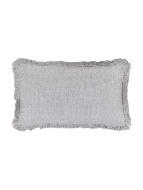 Federa arredo color grigio chiaro con frange decorative Lorel, 100% cotone, Grigio, Larg. 30 x Lung. 50 cm