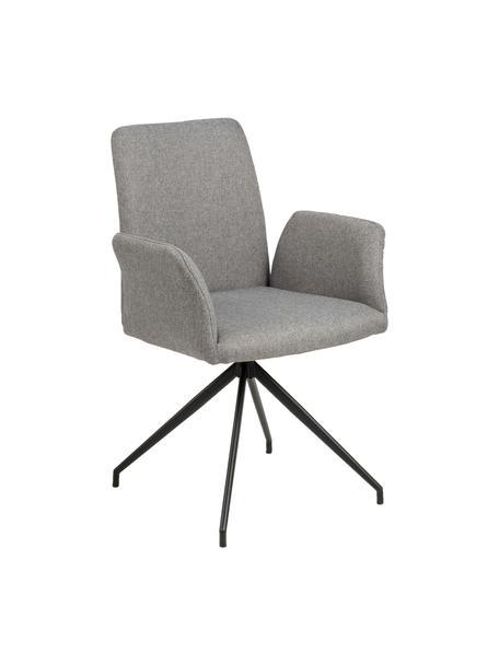 Gestoffeerde draaistoel Naya in grijs, Bekleding: polyester De bekleding is, Frame: gepoedercoat metaal, Geweven stof lichtgrijs, B 59  x D 59 cm