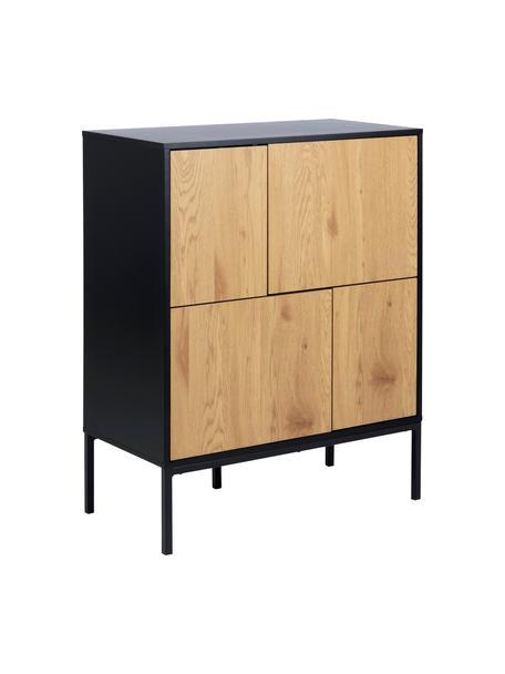 Cómoda Seaford, Estructura: tablero de fibras de dens, Patas: metal con pintura en polv, Negro, roble, An 80 x Al 103 cm
