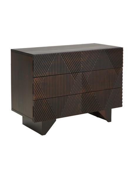 Cajonera de madera maciza Louis, Parte trasera: tablero de fibras de dens, Marrón oscuro, An 100 x Al 75 cm
