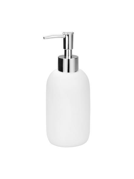 Dispenser sapone Angel, Contenitore: ceramica, Testa della pompa: materiale sintetico, Bianco, Ø 7 x Alt. 19 cm