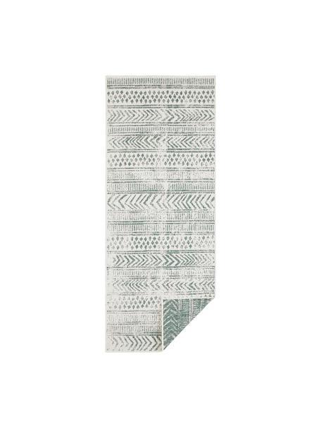 Gemusterter In- & Outdoor-Wendeläufer Biri in Grün/Creme, 100% Polypropylen, Grün, Creme, 80 x 250 cm