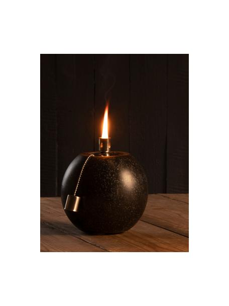 Lámpara de aceite Tizzi, Terrazo, acero inoxidable, Negro, Ø 14 x Al 17 cm