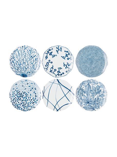 Gemusterte Speiseteller Vassoio in Weiß/Blau, 6er-Set, Porzellan, Blau, Weiß, Ø 27 cm