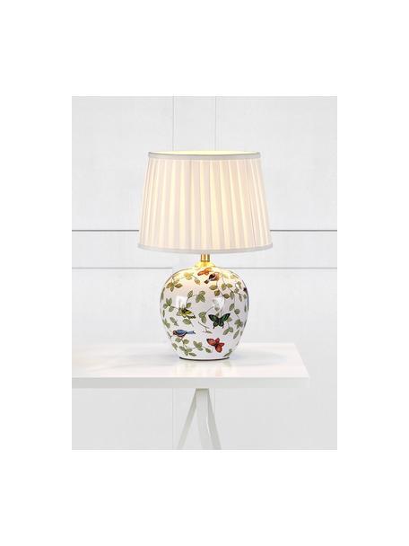 Lámpara de mesa de cerámica Mansion, Pantalla: tela, Blanco, multicolor, Ø 31 x Al 45 cm
