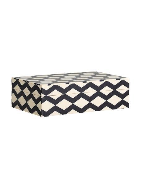 Cofanetto portagioie Jen, Pannello di fibra a media densità (MDF) rivestito con poliresina, Nero, bianco crema, Larg. 21 x Alt. 7 cm