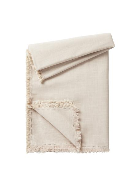 Mantel de algodón con flecos Henley, 100%algodón, Beige, De 4 a 6 comensales (An 145 x L 200 cm)