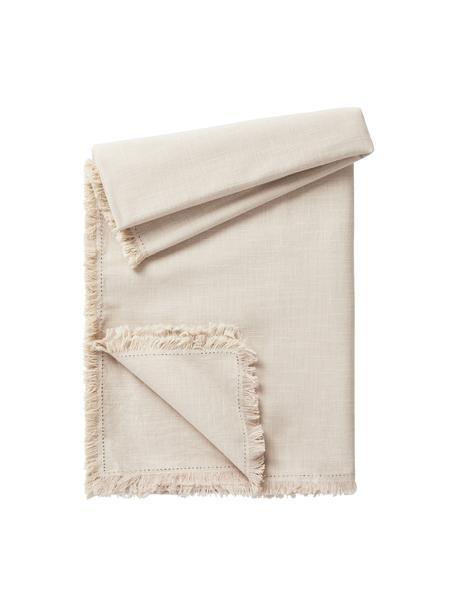 Obrus z bawełny z frędzlami Henley, 100% bawełna, Beżowy, Dla 4-6 osób (S 145 x D 200 cm)