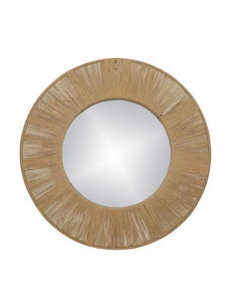 Specchio rotondo da parete con cornice in fibre naturali Finesse, Cornice: metallo, fibra naturale, Superficie dello specchio: lastra di vetro, Marrone, Ø 50 cm