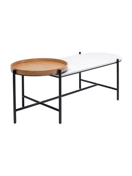 Stolik kawowy z marmurowym blatem i drewnianą tacą Layered, Stelaż: stal lakierowana, Blat: marmur, Czarny, biały, S 128 x W 45 cm