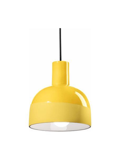 Lámpara de techo pequeña de cerámica Caxixi, Pantalla: cerámica, Anclaje: cerámica, Cable: cubierto en tela, Amarillo, Ø 22 x Al 27 cm