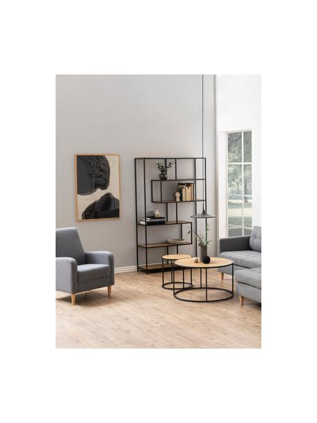 Wandrek Seaford van hout en metaal, Frame: gepoedercoat metaal, Eikenhoutkleurig, zwart, 114 x 185 cm