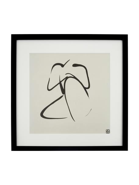 Lámina decorativa Akt Lady III, Ilustración: negro, beige Marco: negro, An 40 x Al 40 cm